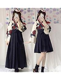 矢羽柄 和式 プリント 改良 着物 和服 上下セット 日本式 ふわふわな彼女 羽織 上着 アンド プリーツスカート 浴衣 (ロングS, ブラック)