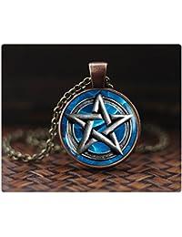 五芒星のペンダント、五芒星のネックレス、五芒星形のペンダント、五芒ネックレス、五角形のジュエリーは、ネックレスメンズ