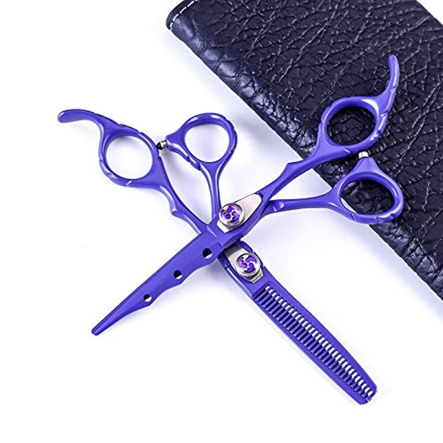意欲慣習一晩Jiaoran プロの理髪はさみ、歯のはさみ+平らなせん断セット6.0インチの紫色のはさみセット (Color : Purple)