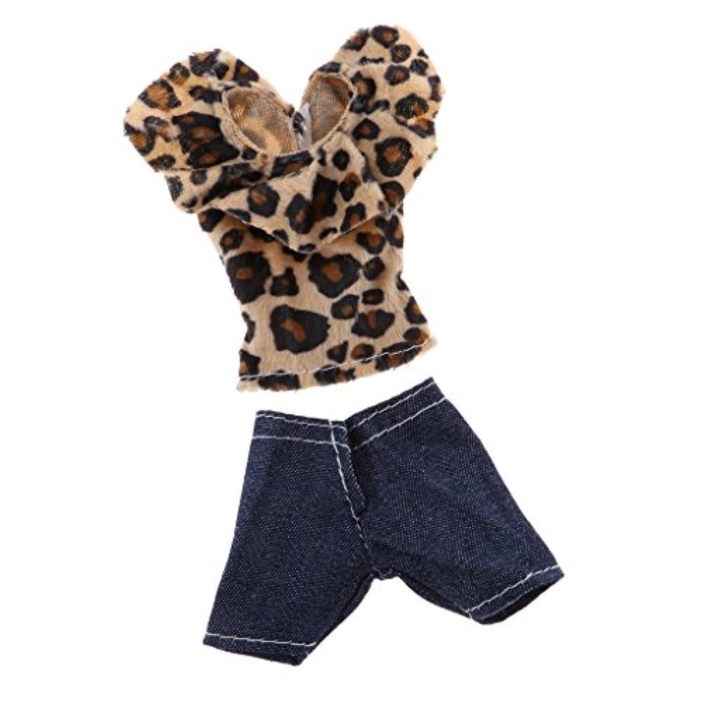 Baoblaze ファッション バービードールのため ツーピース衣装 トップス デニムパンツ フラッシング