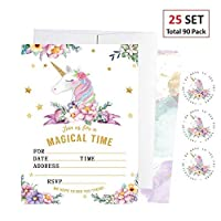 EXIJA 25 Pack Unicorn Invitations with 25 Envelpoes and 40 Unicorn Stickers Unicorn Party Supplies Glitter Unicorn Birthday Party Invitations for Girls [並行輸入品]