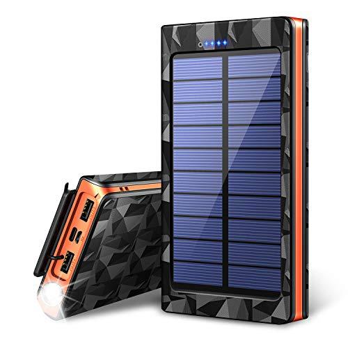 【令和最新版&LEDライト付き】 24000mAh モバイルバッテリー ソーラーチャージャー ソーラ...