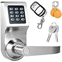 Decdeal 4-in-1 Keypad Lock Unlocked by Password + RF Card + Remote Control + Mechanical Key (Silver)