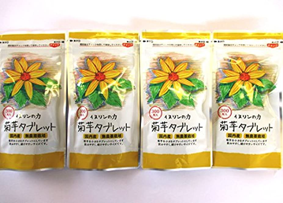 横向き含むアウター菊芋タブレット 250mg×300粒 4個セット 内容量:300g ★4袋で生菊芋=2640g分相当です!