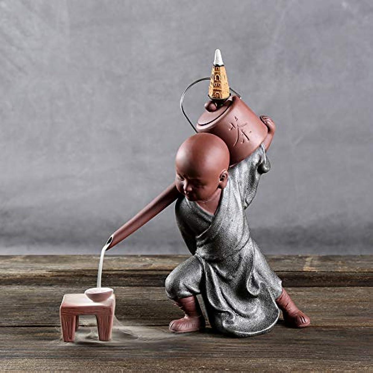 スマイル強風消去PHILOGOD 陶器香炉 セラミックスポッター逆流香炉 僧侶は水を注ぐモデリング仏壇用香炉 お香 ホルダー (style2)