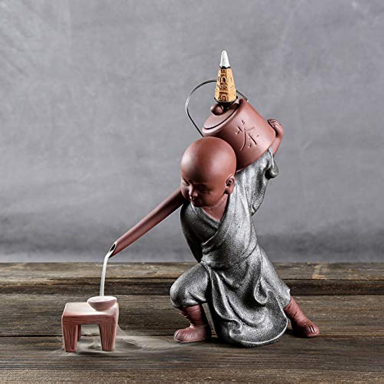 霧道徳教育同情PHILOGOD 陶器香炉 セラミックスポッター逆流香炉 僧侶は水を注ぐモデリング仏壇用香炉 お香 ホルダー (style2)