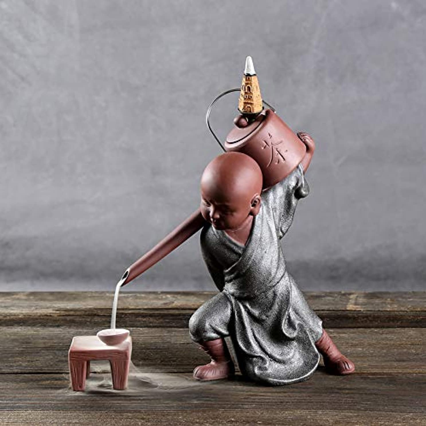 から聞くけがをする慣らすPHILOGOD 陶器香炉 セラミックスポッター逆流香炉 僧侶は水を注ぐモデリング仏壇用香炉 お香 ホルダー (style2)