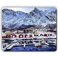 マウスパッド、ノルウェー山脈の建物ベイ冬の雪、ゲームオフィスマウスパッド