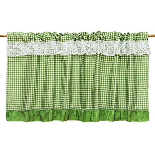 ISINO(アイシノ)カフェカーテン レース 小窓用 目隠し カーテン グリーン 幅90cmx丈45cm