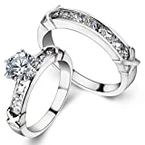 JewelryWe 大切な人や,彼氏・彼女へのプレゼント:ジュエリー ファッション アクセサリー レディース ペアリング,ペアセット指輪,ンフィニティ 無限大 , シンプル, 婚約, 結婚, ジルコニア ダイヤ ステンレス, カラー:シルバー(銀);[ギフトバッグを提供]