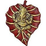 Sawcart Lord Ganesh / Ganesha / Ganpati On Red Paan Patta Leaf Decorative Religious Wall Hanging For Home & Office Decor, Fen