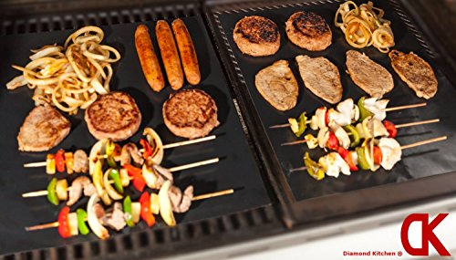 KimHeeバーベキューグリルマット BBQシート 便利 繰り返す使える 鉄板替りに 5枚セット ブラック