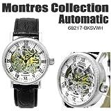 Montres Collection モントレスコレクション 自動巻き オートマチック 両面スケルトン メンズウォッチ MC68217-BK/SVWH