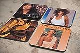 20種類!人気レア!《ホイットニー・ヒューストン/Whitney Houston》オリジナル・アルバム ジャケット デザイン コルク製 コースター 4個セット (1-4) [並行輸入品]