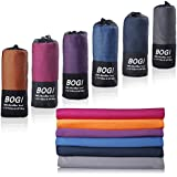 BOGI Microfiber Travel Sports Towel-(Size: S M L XL)-Antibacterial Dry Fast Soft Lightweight Absorbent&Ultra Compact-Perfect for Camping Gym Beach Bath Yoga Backpacking Fitness +Gift Bag&Carabiner