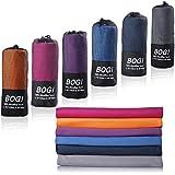 BOGI スポーツ&旅行タオル マイクロファイバータオル - (サイズ:S、M、L、XL) - 超吸水運動タオル 速乾タオル ビーチタオル - 抗菌、防臭、軽量、持ち運びやすく、多機能のお風呂、梅雨時、ジム、ヨガ、ビーチ、バックパッキング、水泳、登山運動、アウトドア、スポーツタオル 敏感肌と子供でも適用+専用収納ポーチとカラビナ