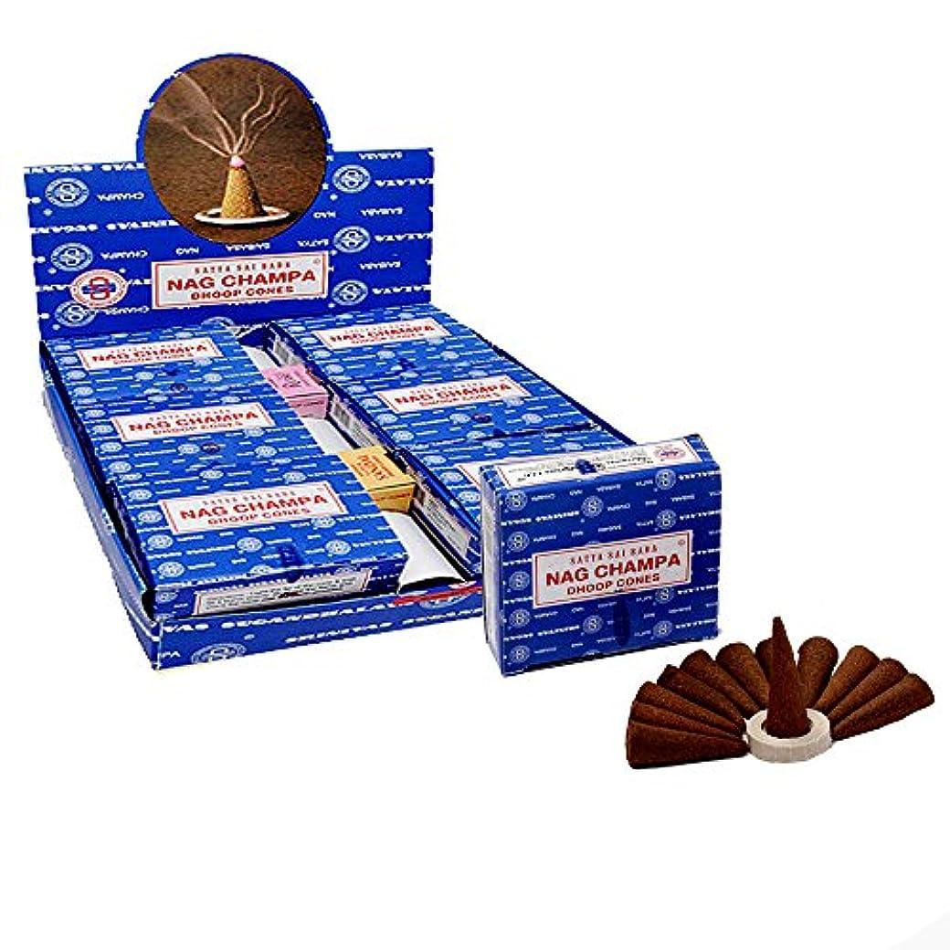 多用途チャーター草Satya Sai Baba Nag Champa Temple Incense Cones、12パックでCones、12パックin aボックス