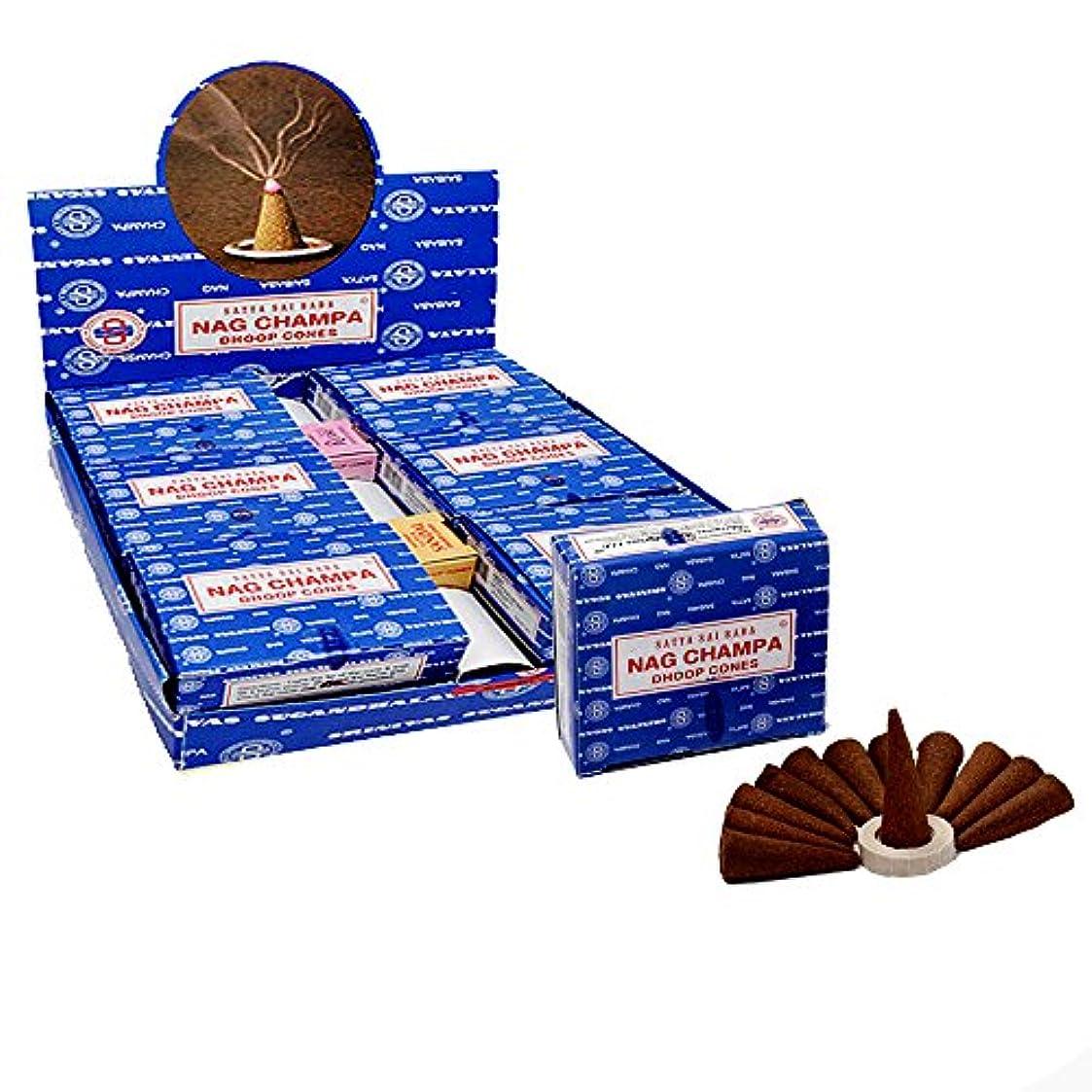 検査フレームワーク助けになるSatya Sai Baba Nag Champa Temple Incense Cones、12パックでCones、12パックin aボックス