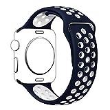 YOLOVIE For Apple Watch スポーツバンド アップルウォッチ バンド ストラップ シリコーン交換バンド 全機種対応 Apple Watch Series 1 / Series 2 / Nike+ / Edition 適用 【42mm、ブルー + ホワイト、M/L】