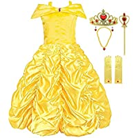 Padete Little Girls Princess Belle Yellow Party Costume Off Shoulder Dress