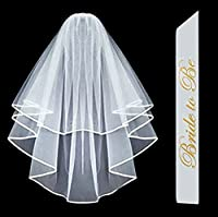 Bachelorette Party COMBO - Sash and Veil - White Double Ribbon Edge Bridal Wedding Veil with Stay in Place Comb & Bride To Be Satin Sash