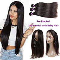 Brazilian Straight Hair with 360 Frontal 8A Brazilian Virgin Hair Straight 360 Lace Frontal with Bundles Straight Human Hair with Closure (12 14 16+10 360frontal Natural Color) [並行輸入品]