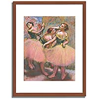 Degas, Edgar「Three dancers with green corsages. About 1900 」 インテリア アート 絵画 プリント 額装作品 フレーム:木製(茶) サイズ:XL (563mm X 745mm)