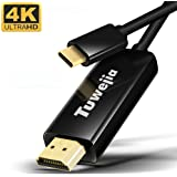 USB Type C to HDMI 60Hz 変換ケーブル1.8M Tuwejia Thunderbolt 3 to HDMI 4K高解像度映像出力 hdmiポート ケーブル アダプタ MacBook Pro/iPad Pro 11/ Mabook air 2018/2019 Chromebook/HUAWEI Mate 20/30/ P20/P30 USB C デバイス 対応 (ブラック)