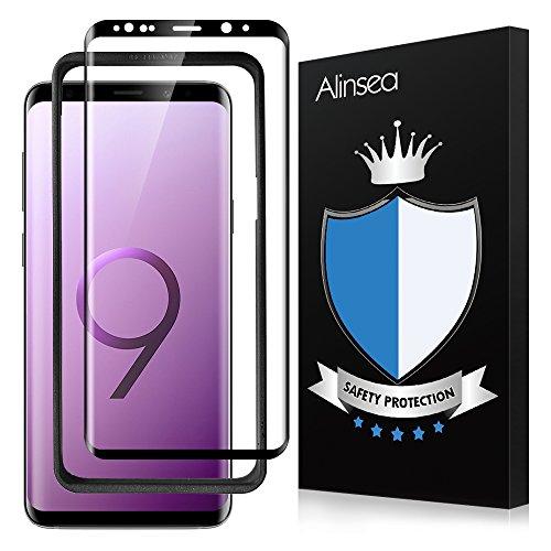 Galaxy S9 Plus ガラスフィルム Alinsea Galaxy S9 Plus フィルム 全面 3Dラウンドエッジ加工 S9 保護フィルム 気泡ゼロ Samsung Galaxy S9 Plus 強化フィルム 指紋防止 耐衝撃 飛散防止【ガラスフィルム1枚+背面保護フィルム1枚】