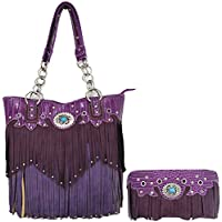 Western Style Fringe Handbag Concealed Carry Purse Women Country Tote Bag Handbag Shoulder Bag Wallet Set
