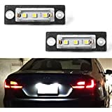 GemPro 2Pcs LED Car License Plate Light Lamp Assembly For VW Touran Golf Plus Caddy Passat Cimousint Jetta Passat Combi Variant Transpiarte, Powered by 3SMD Xenon White LED Lights