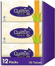 Quilton 3 Ply Aloe Vera Facial tissues, (12 boxes of 110 tissues)