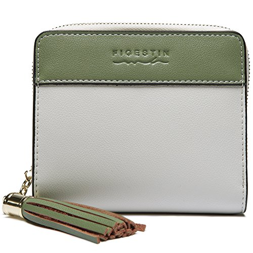 [FIGESTIN]二つ折り財布 レディース ミニ財布 小さい コンパクト 短財布 本革 小銭入れ 人気 かわいい フリンジ 軽量 RFID (グリーン)
