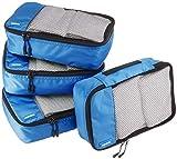 Amazonベーシック トラベル ポーチ 旅行用 収納 ケース 4点セット Sサイズ×4点 ブルー