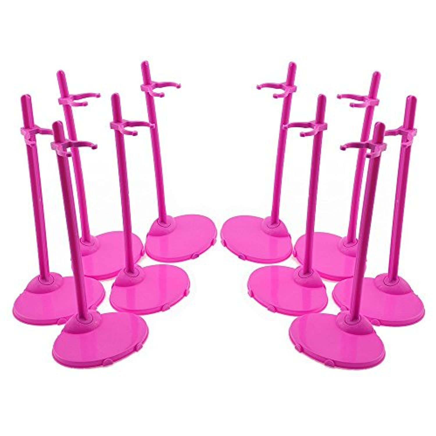 U.WILL 10 Pcs Toy Stand Support for Barbie Dolls Prop up Mannequin Model Display Holder pink
