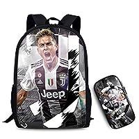 サッカーファンバックパック 学生バッグ 2点セット ユベントス レジャーバックパック 3D印刷 アウトドアスポーツ 旅行用バックパック 17インチ,A