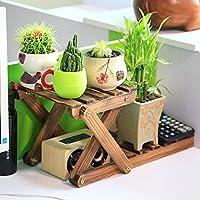 SYF ラック デスク収納ラック|無垢材植物フレームフラワースタンド| 2層の耐久性のあるブラケットデスクフラワースタンド42 x 21 x 21 cm A+ (色 : A)