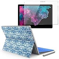 Surface pro6 pro2017 pro4 専用スキンシール ガラスフィルム セット 液晶保護 フィルム ステッカー アクセサリー 保護 チェック・ボーダー 青 ブルー 水色 ハート 模様 008646