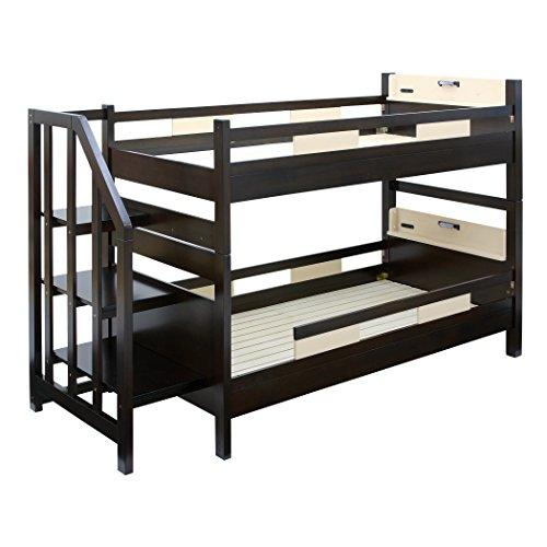 高耐荷重 耐震 宮付 エコ塗装 二段ベッド クレイユ (階段付き ブラウン×ベージュ)