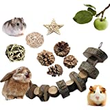 VCZONE Rabbit Chew Toys, Pet Bunny Tooth Chew Toys Organic Natural Apple Wood Grass Cake Ideal for Bunny, Chinchilla, Guinea Pigs, Hamsters Teeth Grinding (8 Pack)