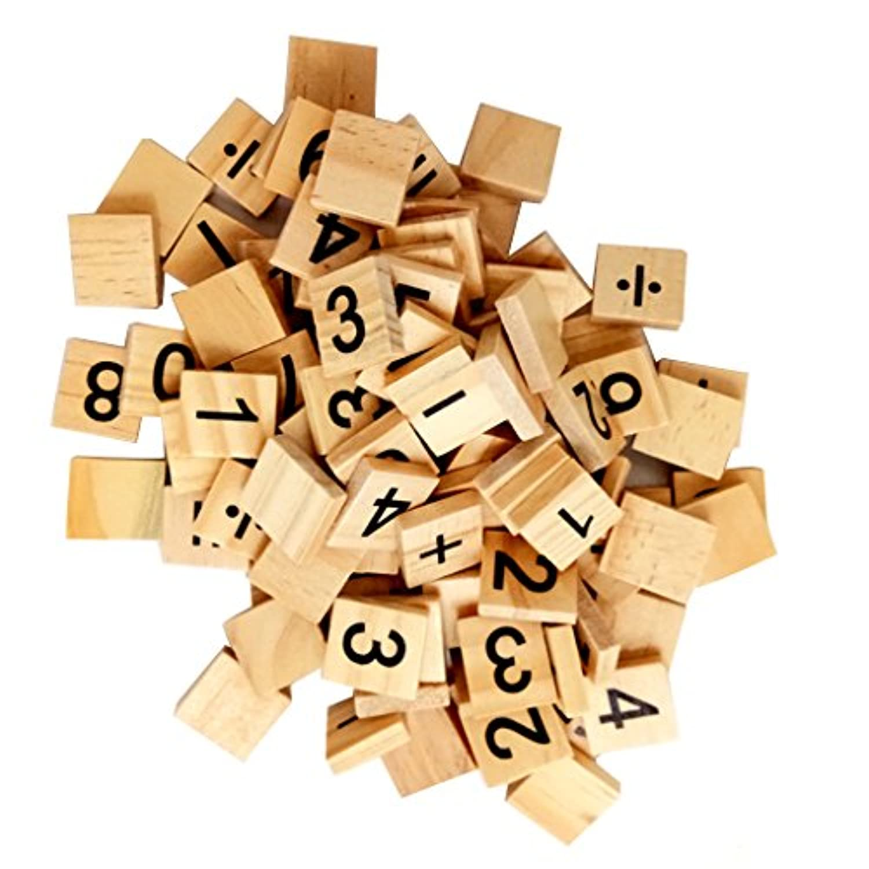 Dovewill 100個 木製 番号0-9 キューブブロック 家族 ギフト 知育玩具 工芸品