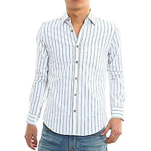 インプローブス 綿麻 シャツ ウッド調ボタン スリム ストレッチ パナマ織りシャツ メンズ A 長袖 ホワイトストライプ L サイズ