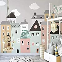 Lcymt 子供のためのカスタム壁画壁紙手描きの小さな家子供部屋寝室装飾壁紙壁画-120X100Cm