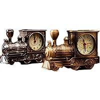 かわいい トレイン 目覚まし時計 おもしろ 蒸気機関車 時計 目覚まし アラーム 大音量 置き時計 ベル音 おしゃれ インテリア 子供 友達 ギフト (ブロンズ)