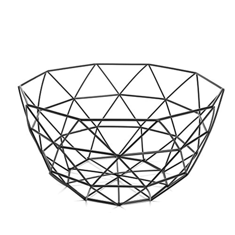 blisscomdep Modern Geometric Wire Basket、シンプルなアートFresh Fruit Vegetableスナックボウルストレージテーブルウェア表示ラックホルダー装飾ギフト – グリーン/ブラック 1 ブラック 21EV15I9Q243ZV7S117