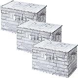 山善(YAMAZEN) どこでも収納ボックス ふた付き 3個セット カラーボックス対応 ホワイトブリック YTCT-3PF(WHR)