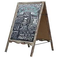 MyGift 34-inch Torched木製Aフレーム黒板歩道サイン、自立メモ型サンドイッチボード