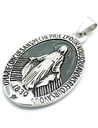 [シルバーワン] on ステンレス製 不思議のメダイ 聖母マリア象 ペンダントトップ ネックレス メンズ 銀色 特大サイズ