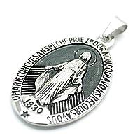 [シルバーワン] ue 不思議のメダイ 聖母マリア アンティーク燻し加工 ペンダント ネックレス メンズ 楕円型 ステンレス 銀色 (標準サイズ)