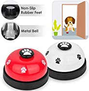 Pet Bell, 2 Pack Metal Bell Dog Training with Non Skid Rubber Bottoms Dog Door Bell for Potty Training Clear R